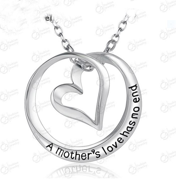 """Mother's Love"" Inspirational message necklace - silver"