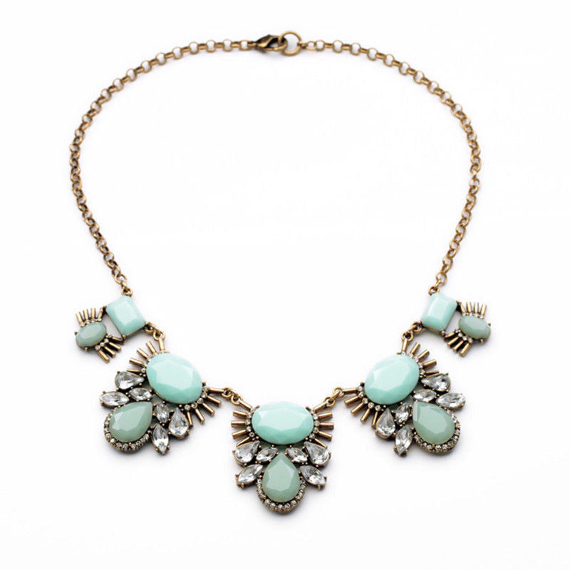 Opal Mint Antique Gold Statement Necklace - BellaBijoux