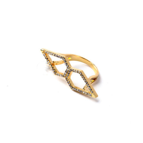 On Point - Gold Crystal Cocktail Ring