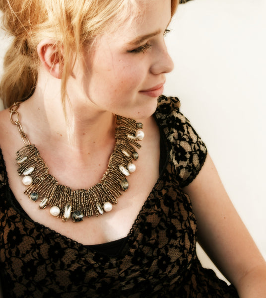 Pearl Crush Statement Necklace - BellaBijoux