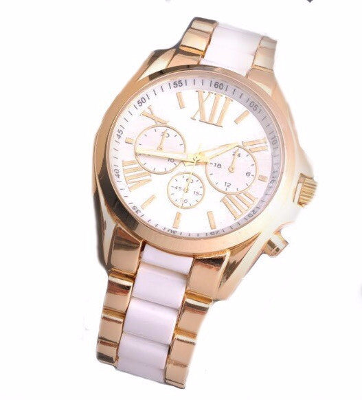 White and Gold Designer Inspired MK Watch