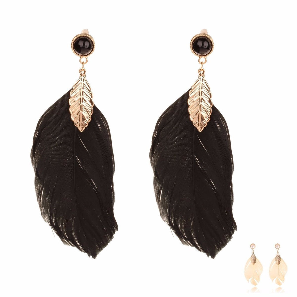 Raven Feather Earrings - BellaBijoux