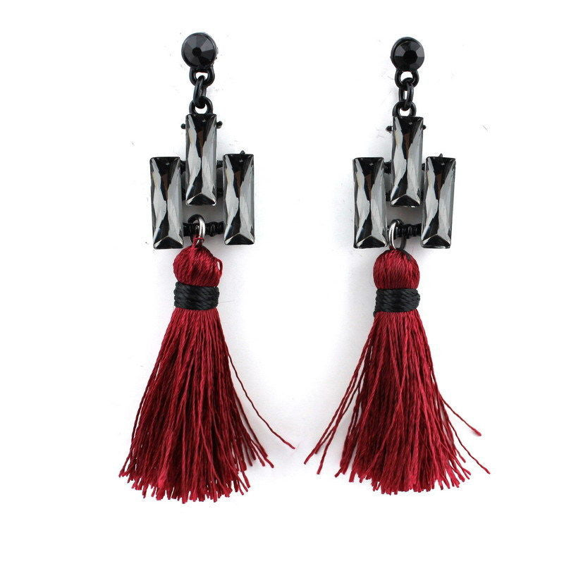 Boho Red Tassel Earrings - BellaBijoux