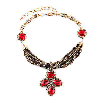 Ruby Teardrop Vintage Necklace