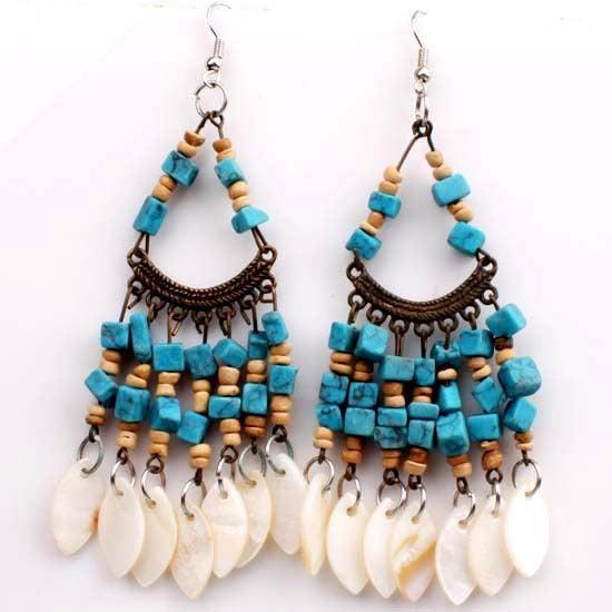Rythm and Blues Boho Dangle Earrings - BellaBijoux