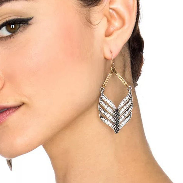 Silver Feather Vintage Earrings
