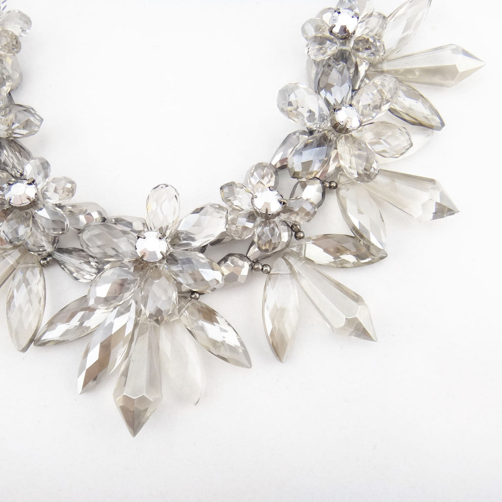 Snow Flower Crystal Statement Necklace