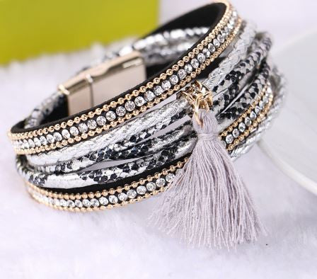 Tassle and Leather Wrap Rhinestone Layer Bracelet
