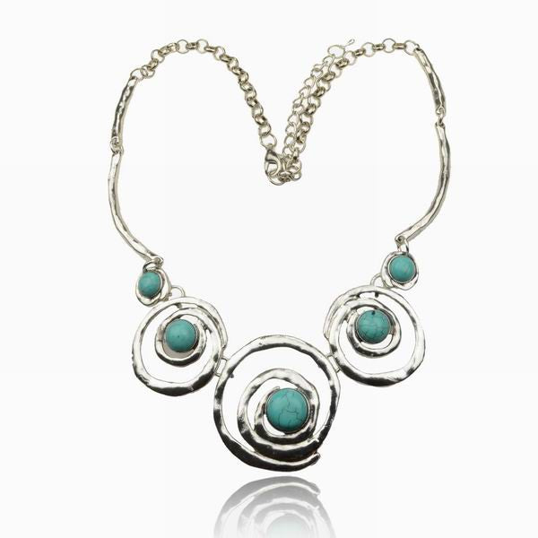Tibetan Silver Turquoise Bib Necklace - BellaBijoux