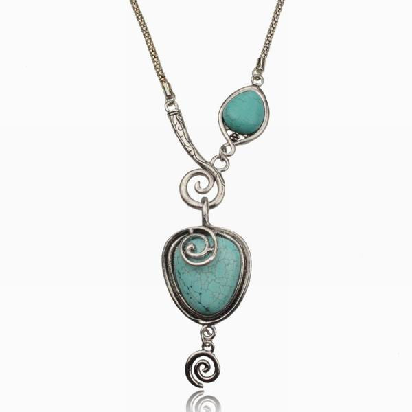 Turquoise Tibetan Silver Art Deco Necklace