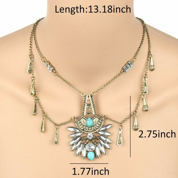 Turquoise Retro Chic Crystal Necklace