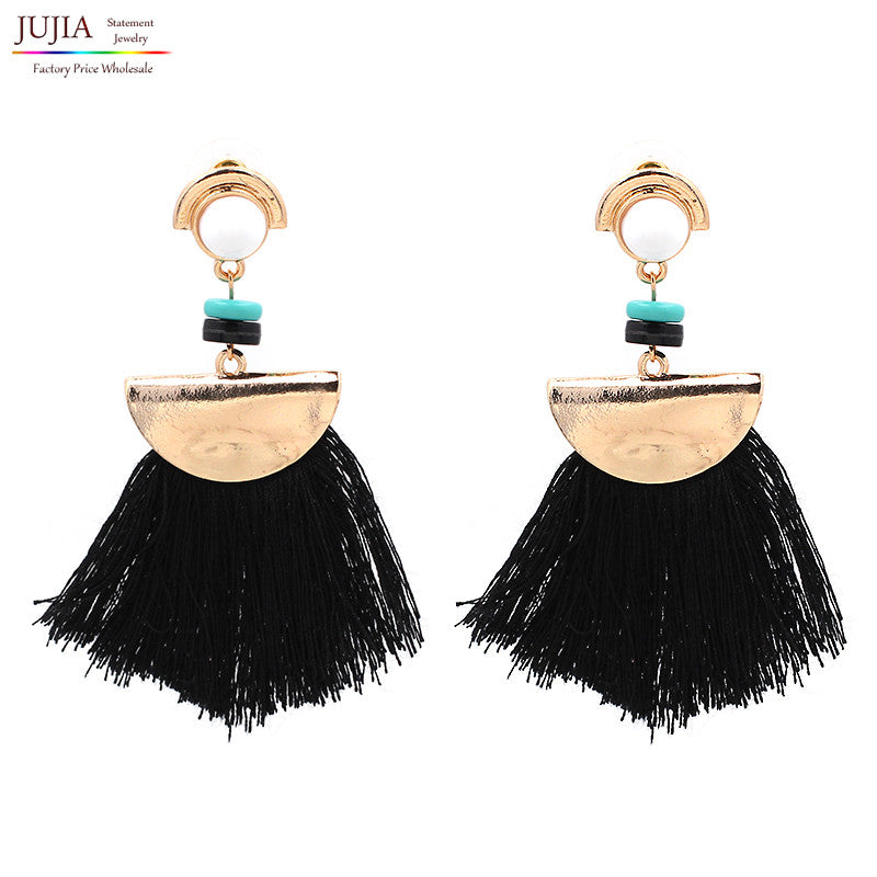 Turquoise Tassel Drop Earrings