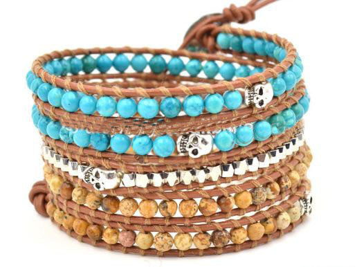 Genuine Leather Wrap Bracelet - turquoise, wood agate