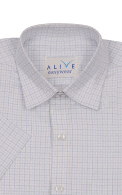 Alive EasyWear Shirt - Blue Checked - Short Sleeve