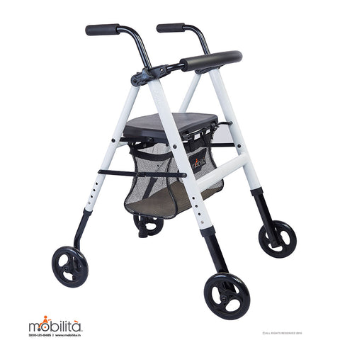 M 200MW - Aluminium Walker - Foldable - Metallic White