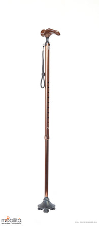 M 712 - Walking Cane - Single Foot - Palm Shaped Handle - Champagne Brown
