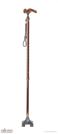 M 713 - Walking Cane - Square Foot - Palm Shaped Handle - Champagne Brown