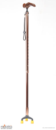 M 714 - Walking Cane - Triangle Paw - Palm Shaped Handle - Champagne Brown