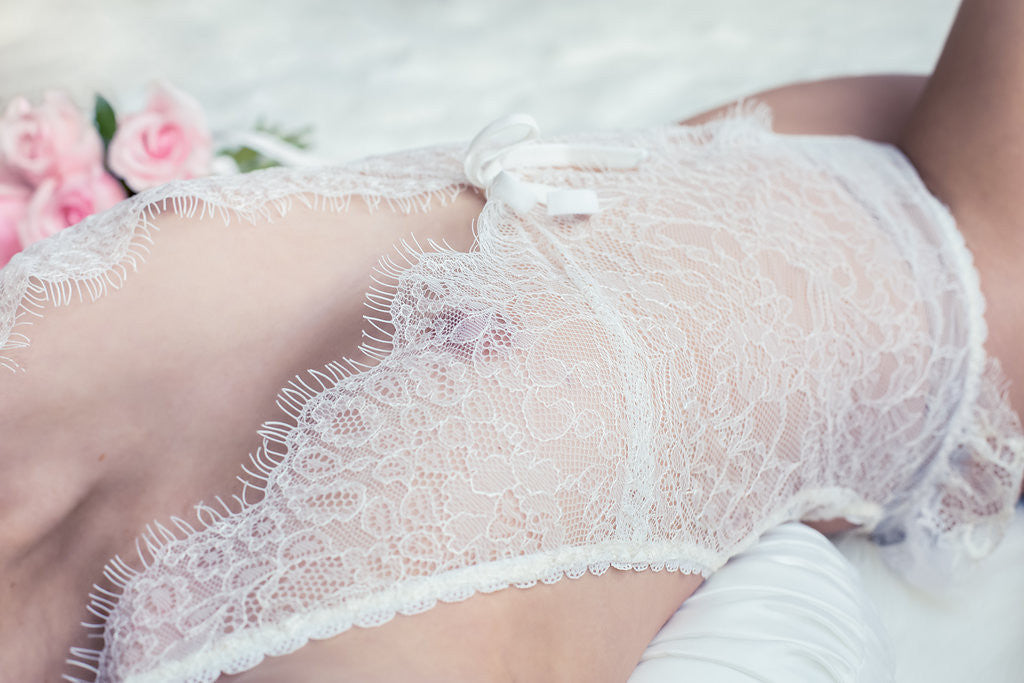 Koki Intimi. Violet Crème bodysuit perfect for a bridal boudoir session.