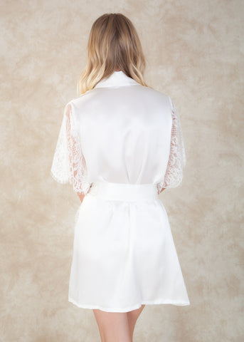 By Girl With A Serious Dream. The Grace Kimono combines a girls favorite fabrics, silk and french lace. This gorgeous robe is must-have for any bride. Pair this luxurious silk kimono with your favorite bridal lingerie for an stunning boudoir and honeymoon look. Available at Koki Intimi.