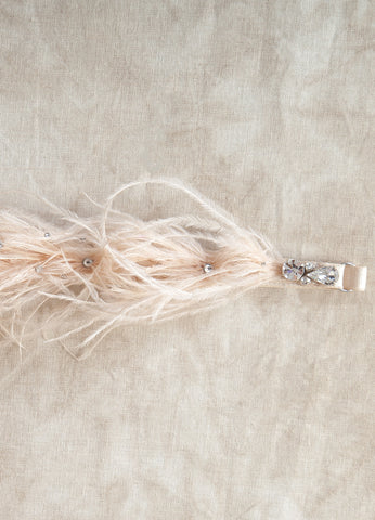 By Mamie & James. The Chantelle Garter is the perfect party accessory. Meticulously crafted by hand, each ostrich feather is individually sewn onto adjustable stretch banding. This whimsical piece is finished off with a few scattered swarovski crystals. Available at Koki Intimi.