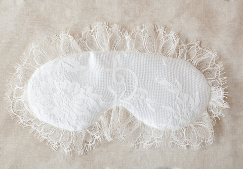 By Girl With A Serious Dream. Sleep or play with this luxurious padded sleep mask. Hand crafted with chantilly lace and silk sleep mask with beautifully scalloped edges. Available at Koki Intimi.
