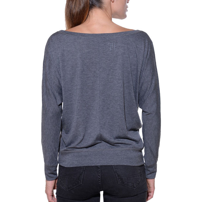 Cozy, relaxed, what was I saying, long sleeve, womens grey top