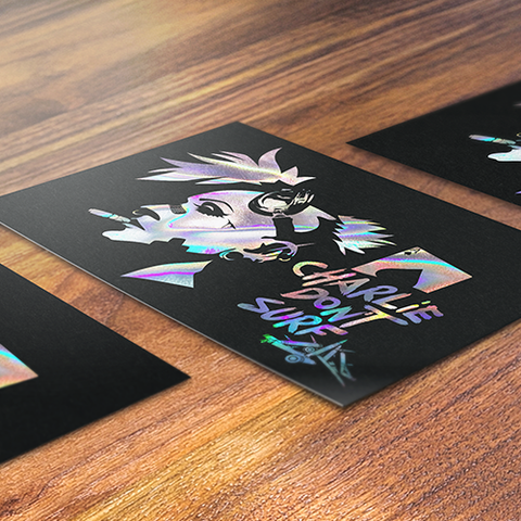 Charlie Don't Surf Holographic Art Print