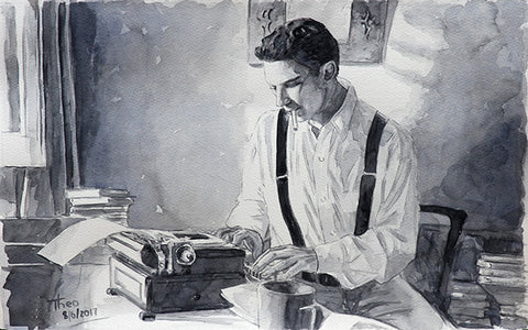 The Writer, a watercolour sketch by Theo Michael, timeless, nostalgic, art noir.
