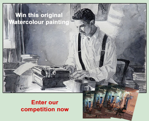 Win this watercolour painting by Theo Michael of The Writer