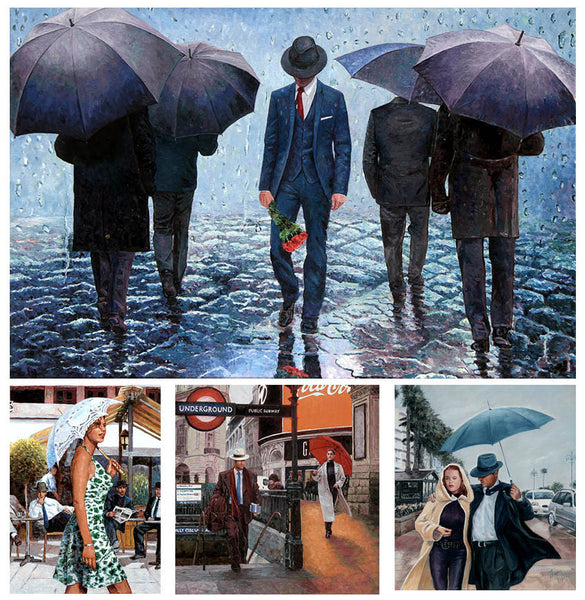 umbrella paintings, original artwork in oil by Theo Michael