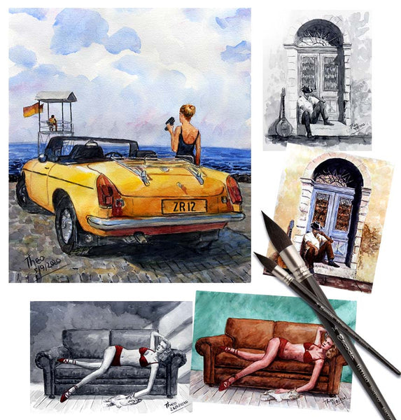 Watercolour sketches by Theo Michael