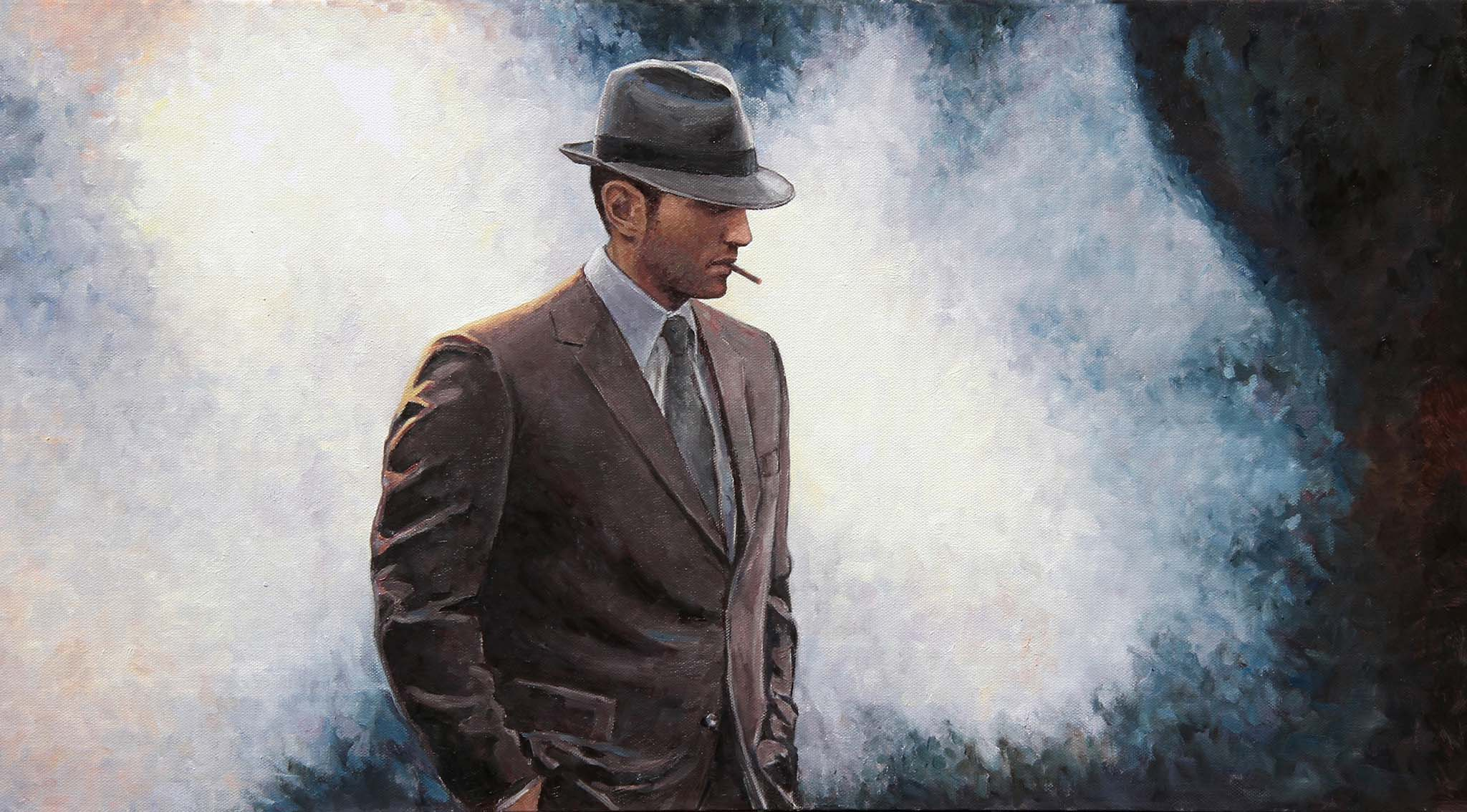 The Private Eye an original film noir style oil painting by Theo Michael