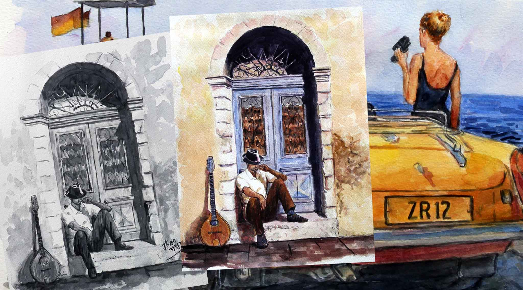 Fine Art Watercolour original paintings by Theo Michael