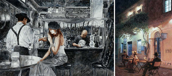 The Art Cafe 1900 in Larnaca Cyprus, an oil painting of the interior and exterior by Theo Michael