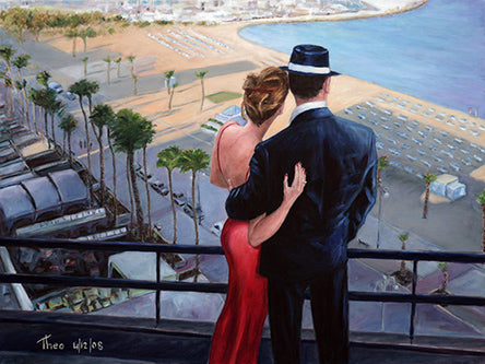 Balcon With A View, an oil painting by Theo Michael featured in the Cobalt Inflight Magazine