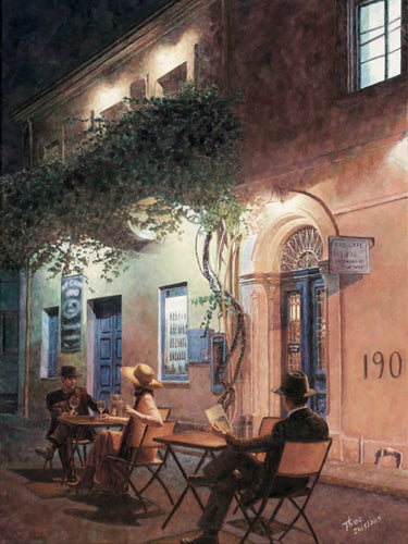 Cafe At Night, an oil painting by Theo Michael, featuring the Art Cafe in Larnaca