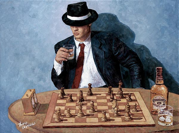 oil painting chess, Make your move by Theo Michael