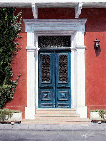 Cyprus Blue Door, an oil painting by Theo Michael featured in the Cobalt Inflight Magazine