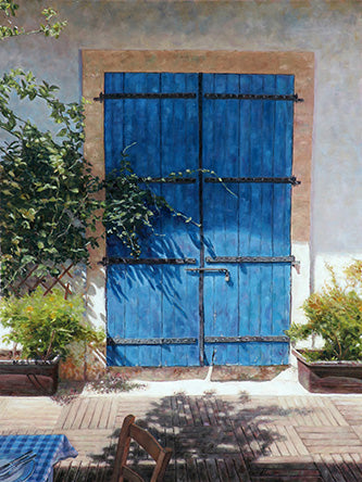 Blue Door In Summer Light an oil painting by Theo Michael featured in the Cobalt Inflight Magazine