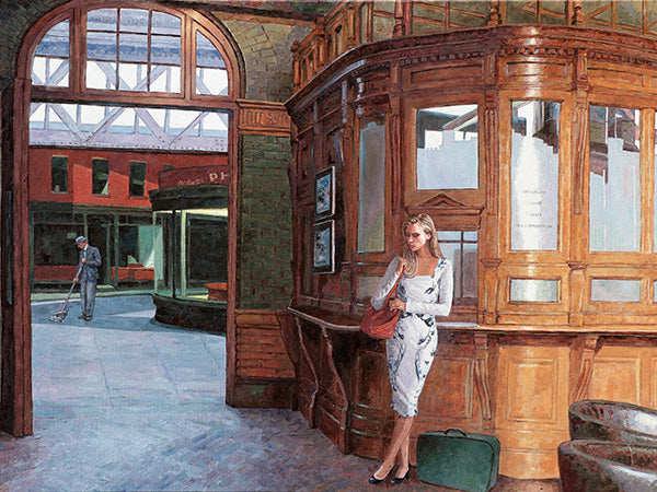The painting Homage to Edward Hopper, The Ticket Office