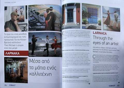 An article on Theo Michael, Larnaca Through The Eyes Of An Artist, in the Cobalt Inflight Magazine