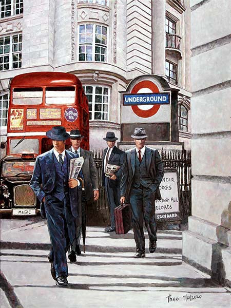 London oil painting by Theo Michael, Let's Go To Work