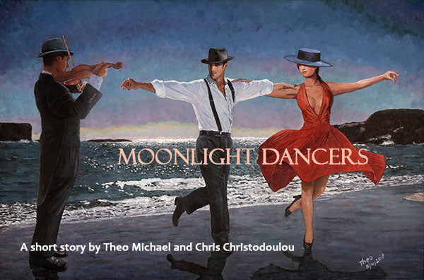 Moonlight Dancers, an oil painting by Theo Michael, read the accompanying short story of the painting