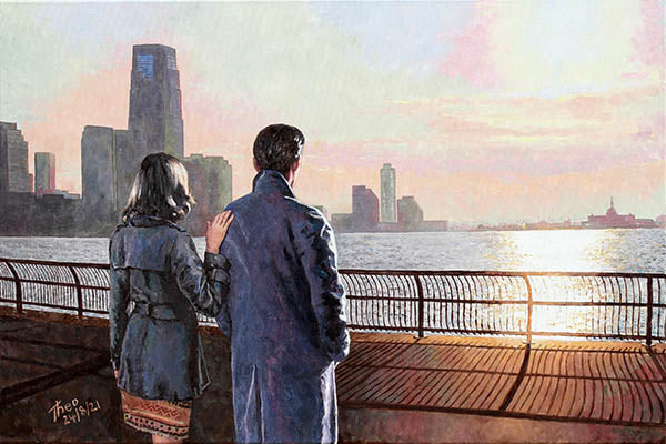 oil painting A New Horizon, New York Hudson River by Theo Michael