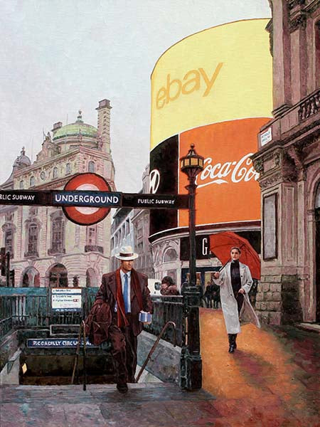 London oil painting of Piccadilly Circus by Theo Michael