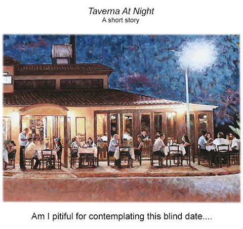 Taverna At Night, an oil painting by Theo Michael of the Vlachos Taverna In Pyla, Cyprus