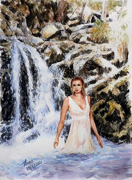 Watercolour painting Caledonia Waterfall by Theo Michael