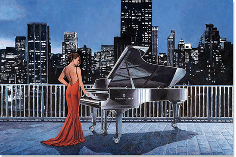 Art Noir Wall Art, Pianist On The Roof by Theo Michael