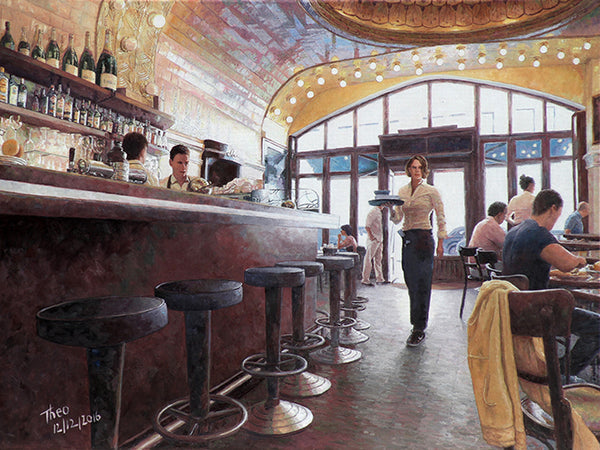 Cafe Paris in Hamburg, an oil painting by Theo Michael